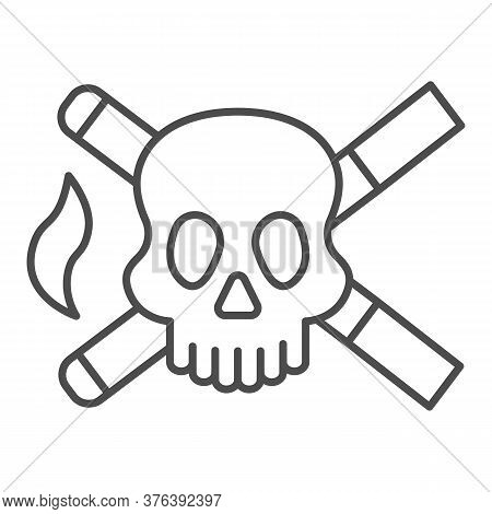 Skull And Two Cigarettes Thin Line Icon, Smoking Concept, Cross Sign Of Cigarette With Skull On Whit