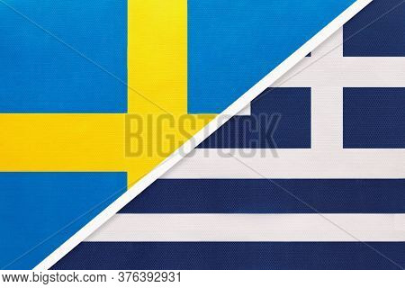 Kingdom Of Sweden And Greece Or Hellenic Republic, Symbol Of National Flags From Textile. Relationsh