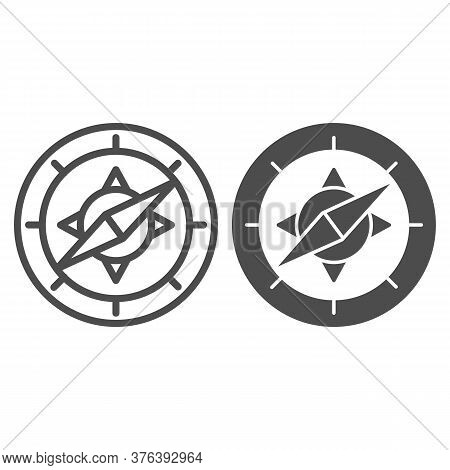 Compass Line And Solid Icon, Navigation Concept, Navigator On White Background, Wind Rose Compass Ic