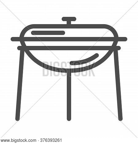 Bbq Outdoor Grill Line Icon, Camping Equipment Concept, Standing Round Barbecue Equipment Sign On Wh