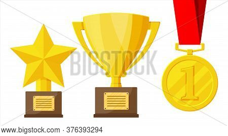 Trophy And Awards Icons Set. Cups, Medals And Ribbons For Winners. Different Gold Trophy For Competi