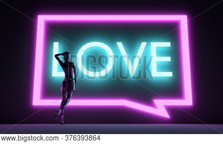 Woman Backlight Silhouette. Neon Shine Text. Love Concept. 3d Rendering