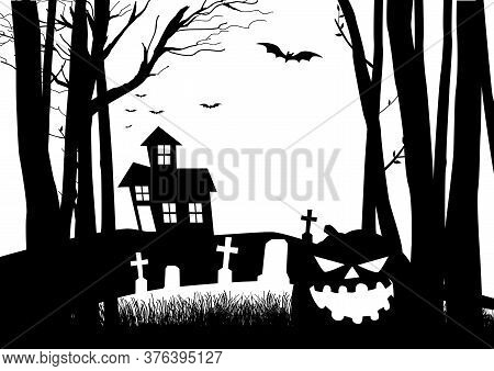 Black And White Graphic Illustration Of A Scary House And Cemetery In The Woods, For Halloween Theme