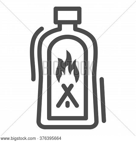 Liquid For Kindling Fire Line Icon, Picnic Concept, Fire Firing Fluid Sign On White Background, Flui