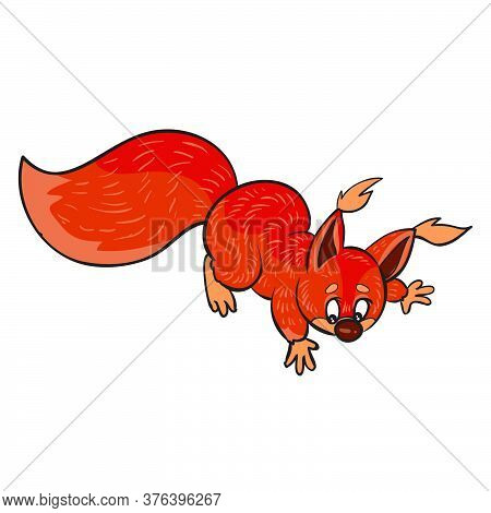 Red Frightened Squirrel, Cartoon Illustration, Isolated Object On A White Background, Vector Illustr