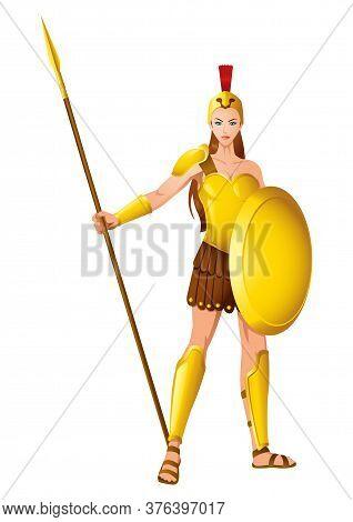 Greek God And Goddess Vector Illustration Series, Athena The Goddess Of Wisdom, Civilization, Warfar