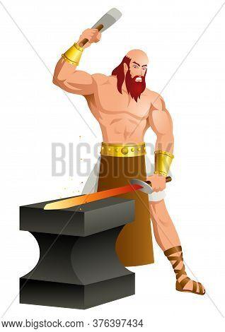 Greek God And Goddess Vector Illustration Series, Hephaestus, The God Of Fire, Metalworking, Stone M