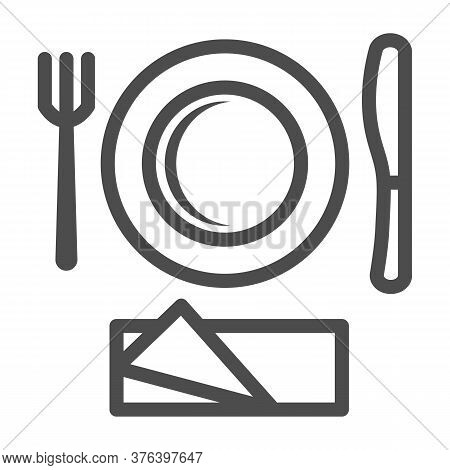 Plastic Disposable Tableware Line Icon, Picnic Concept, Picnic Cutlery Sign On White Background, Pla