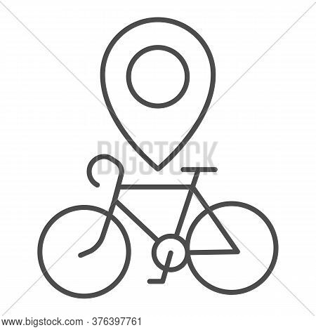 Bike Location Thin Line Icon, Bicycle Concept, Map Pointer With Bicycle Sign On White Background, Bi