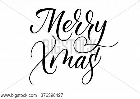 Handwritten Modern Brush Calligraphy Merry Xmas Isolated On White Background. Vector Illustration.