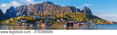 Panorama Of Norwegian Fishing Village Reine, Lofoten islands, Norway