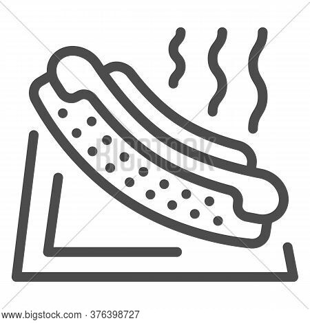 Hotdog Line Icon, Picnic Concept, Hot Dog Sign On White Background, American Hotdog Sandwich With Ke