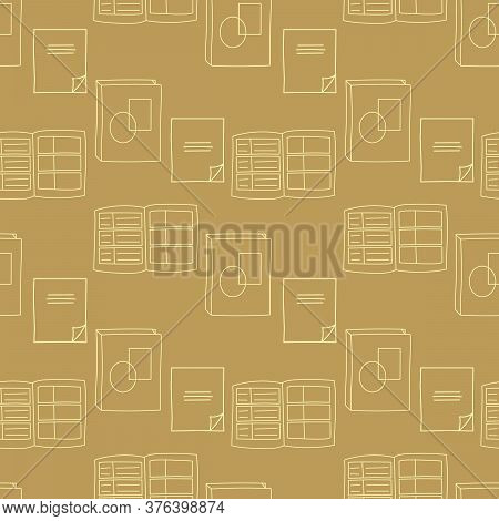 Seamless Pattern With Hand Drawn Notepad, Notebooks, Diaries. Flat Vector Illustration