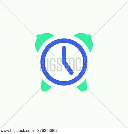 Alarm Time Icon Vector, Filled Flat Sign, Alarm Clock Bicolor Pictogram, Green And Blue Colors. Symb
