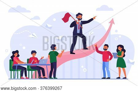 Business Leader With Flag Showing Way To Success Isolated Flat Vector Illustration. Cartoon Business