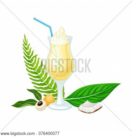 Cocktail With Straw In Glass And Palm Leaves With Fruits Hawaiian Vector Composition