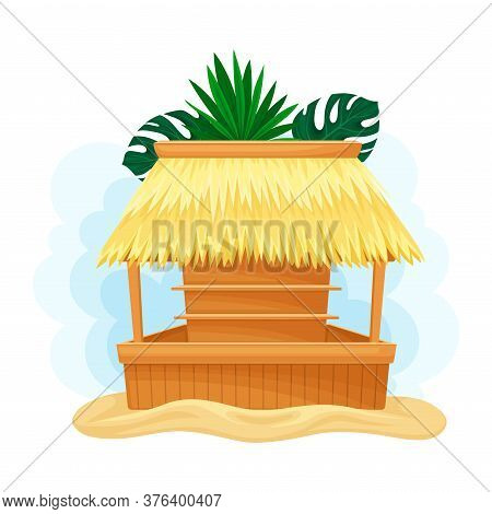 Hut Or Bar With Thatched Or Straw Roof And Palm Leaves Vector Illustration