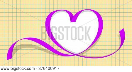 Ribbon Purple With Heart Shape On Grid Background, Copy Space, Ribbon Line Heart-shaped