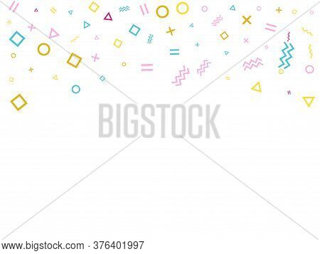 Memphis Style Geometric Confetti Vector Background With Triangle, Circle, Square Shapes, Chevron And
