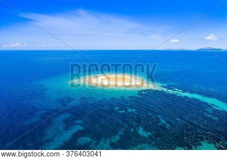 Adriatic Coastline In Croatia, Beautiful Small Island Of Mali Lagan In Turquoise Sea In Dugi Otok Ar