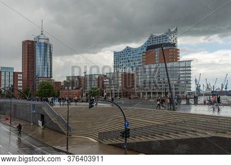 View Of The Elbphilharmonie And Hafencity In Rainy Weather, Hamburg, Germany