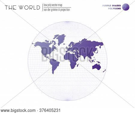 Low Poly World Map. Van Der Grinten Iii Projection Of The World. Purple Shades Colored Polygons. Ele