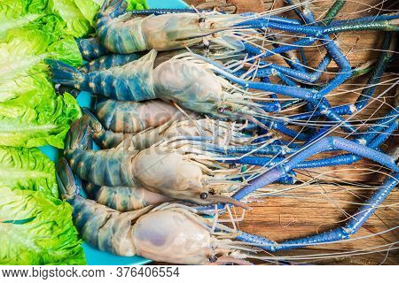 Top Down Fresh Tiger Prawns In A Plate With Ice On A Wooden Textured Background Shrimps Or Prawn Raw