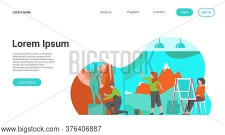 Artists Creating Artworks Flat Vector Illustration. Creative Characters Painting, Drawing And Sculpt