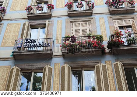 Barcelona, Spain - May 10, 2017: This Is A Decorated Fragment Of The Facade Of One Of The Modernist