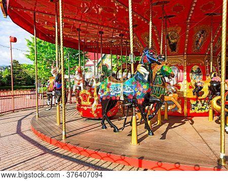 Sochi, Russian Federation - June 2020. Carousel Horse. Attraction In Sochi Park. Olympic Park. Quara