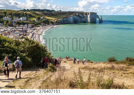 Etretat, France - September 1, 2019: This Is A View Of The Beach Of City And D\'aval Cliff.