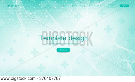 Medical Landing Page Template Design. Abstract Health Care Banner Template. Asbtract Scientific Back