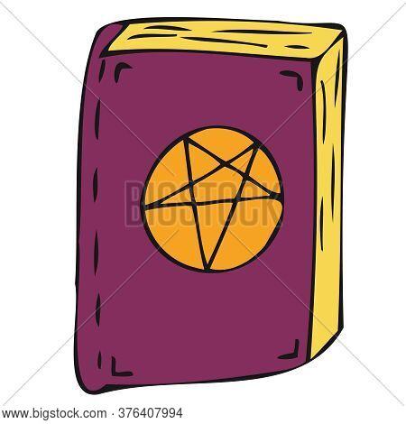 Witch Or Sorceress Spell Book, Vector Doodle Element For Halloween Celebration, Color Illustration