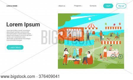 Happy People At Street Season Flea Market Flat Vector Illustration. Cartoon Crowd Walking At Park Du