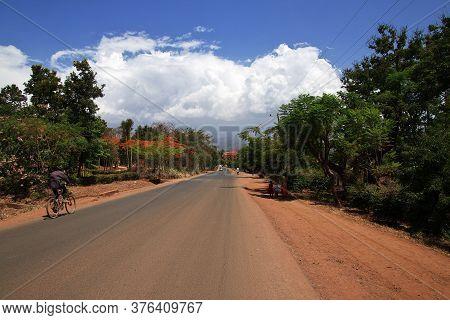 Moshi / Tanzania - 08 Jan 2017: The Road In Moshi City Of Tanzania, Africa