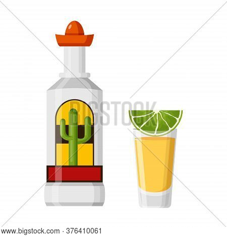Bottle Tequila With Cactus Agave On Label And Sombrero Cap. Glass Tequila With Slice Lime. Vector Fl