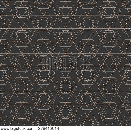 Seamless Ramadan Graphic Dark, Swatch Texture. Repetitive Classic Vector Cell Decoration Pattern. Re