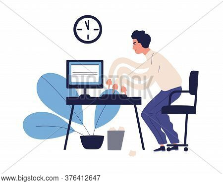Stressed Multitasking Man Trying To Get In Time Making Many Work Use Computer Vector Flat Illustrati