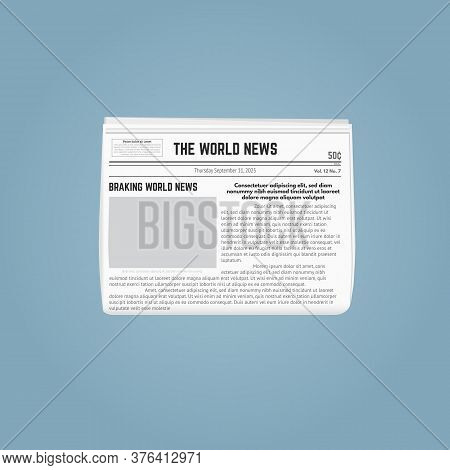 Newspaper Template. Folded Newspaper With Blank Picture For Pasting And Text. Date And Headlines, Wi