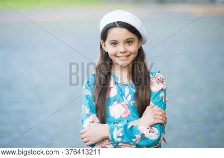 Create Your Style With Us. Happy Girl Wear Beret In Fashion Style. Little Child With Long Hair Grey