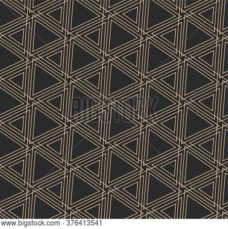 Continuous Decorative Vector Triangular Lattice Texture. Dark Modern Graphic, Poly Plexus Pattern. R
