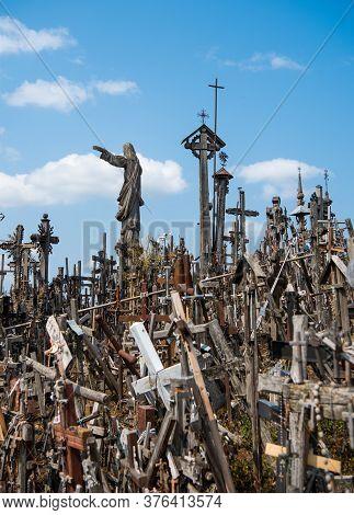 Siauliai, Lithuania - July 28, 2019: The Hill Of Crosses (kryziu Kalnas) In Siauliai, Lithuania, Eur