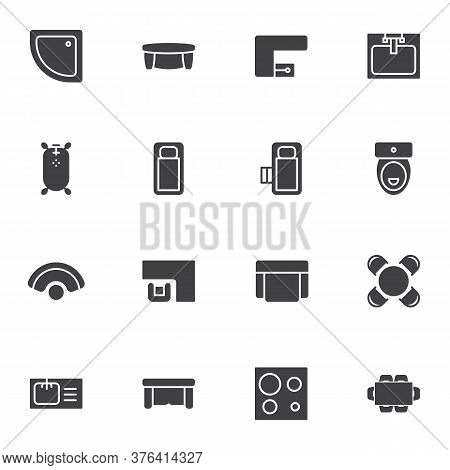 Home Interior Furniture Vector Icons Set, Modern Solid Symbol Collection, Filled Style Pictogram Pac