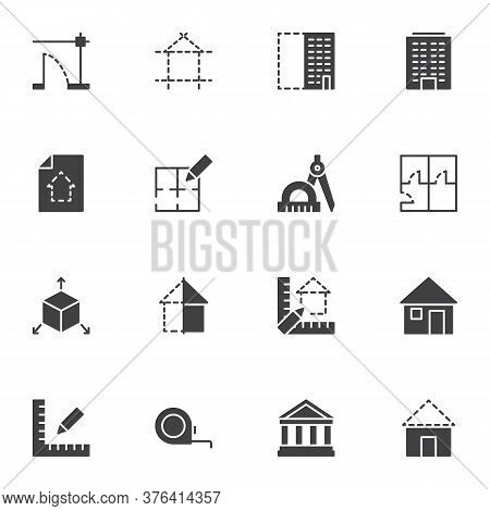 Architecture Vector Icons Set, Modern Solid Symbol Collection, Filled Style Pictogram Pack. Signs, L