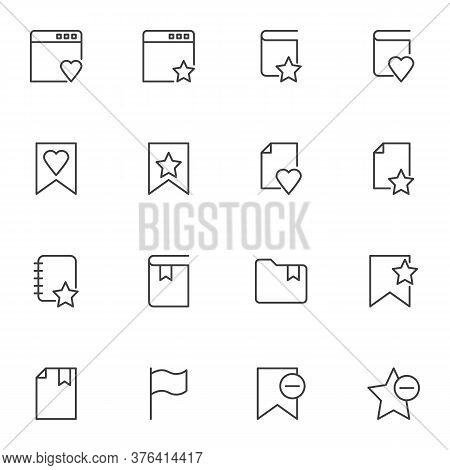 Bookmark Line Icons Set, Outline Vector Symbol Collection, Linear Style Pictogram Pack. Signs Logo I