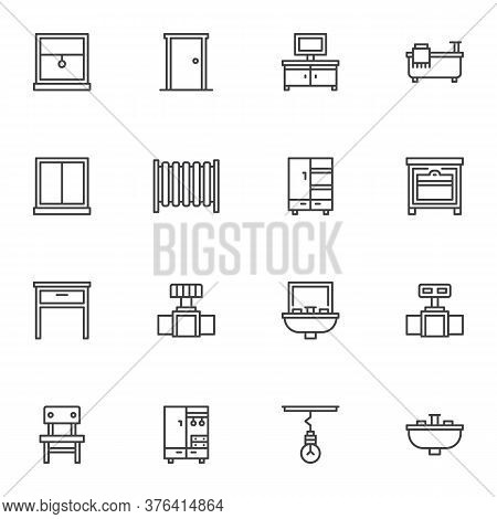 Bathroom Furniture Line Icons Set, Outline Vector Symbol Collection, Linear Style Pictogram Pack. Si