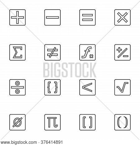 Calculator Symbols Line Icons Set, Math Outline Vector Symbol Collection, Linear Style Pictogram Pac