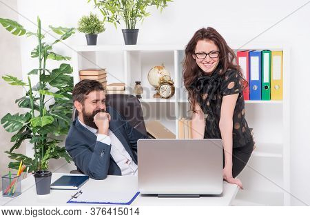 Business Couple Working. Couple In Office. Man And Woman Boss Manager Director. Office Meeting. Boos