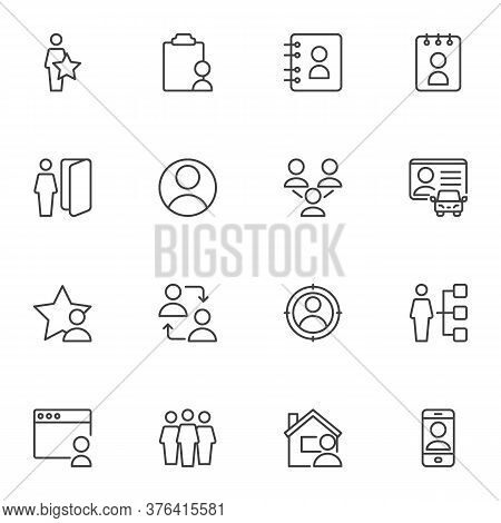 User Contact Line Icons Set, Outline Vector Symbol Collection, Linear Style Pictogram Pack. Signs, L