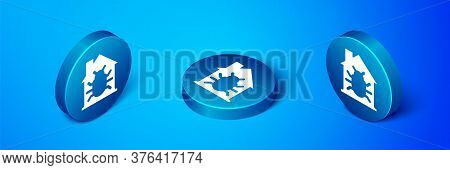 Isometric House System Bug Concept Icon Isolated On Blue Background. Code Bug Concept. Bug In The Sy